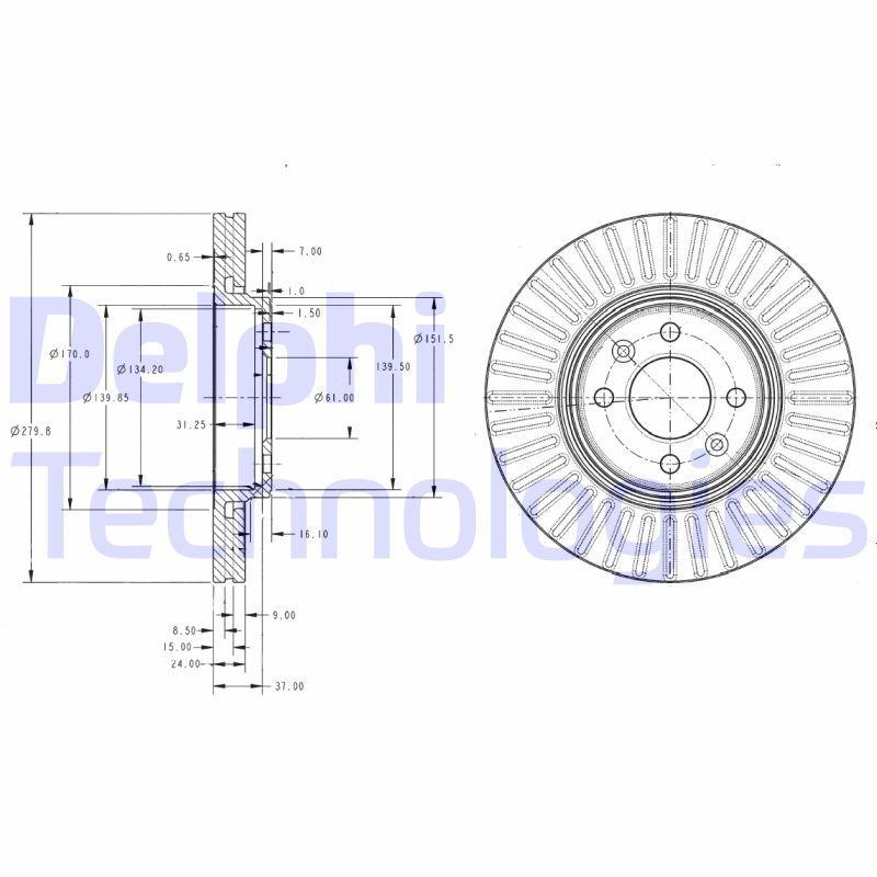 DELPHI  BG3430C Bremsscheibe Bremsscheibendicke: 24mm, Lochanzahl: 4, Ø: 280mm