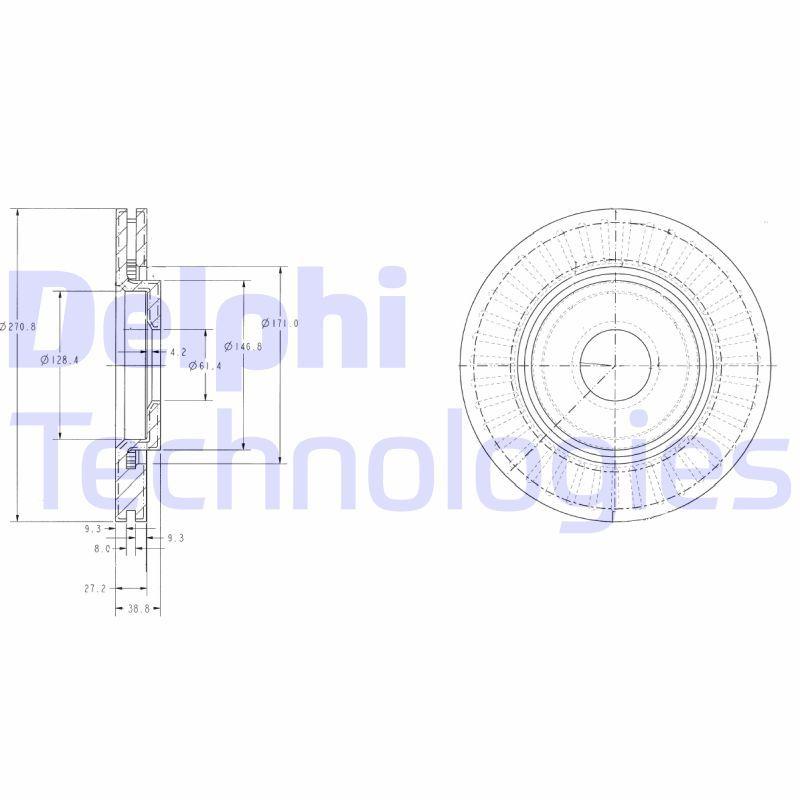 DELPHI  BG3620C Bremsscheibe Bremsscheibendicke: 22mm, Lochanzahl: 4, Ø: 266mm