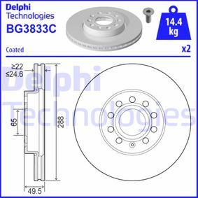 Bremsscheibe Bremsscheibendicke: 25mm, Ø: 288mm mit OEM-Nummer 5C0615301A
