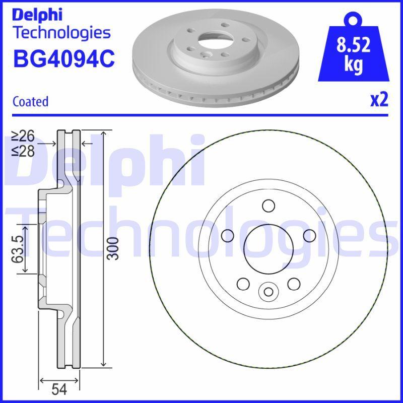 DELPHI  BG4094C Brake Disc Brake Disc Thickness: 28mm, Ø: 300mm