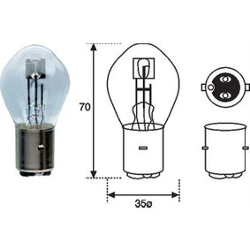 Bulb, spotlight S1 12V 25/25W BA20d 002588100000