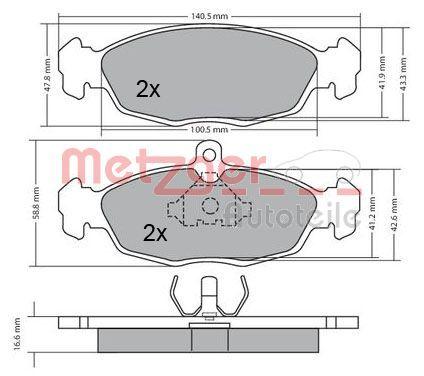 Комплект спирачно феродо, дискови спирачки 1170015 METZGER 21353 в оригиналното качество