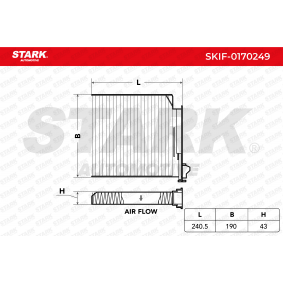 Renault Twingo 2 1.2 Turbo (CN0C, CN0F) Innenraumfilter STARK SKIF-0170249 (1.2 Turbo Benzin 2015 D4F 782)
