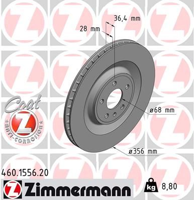ZIMMERMANN COAT Z 460.1556.20 Bremsscheibe Ø: 356mm