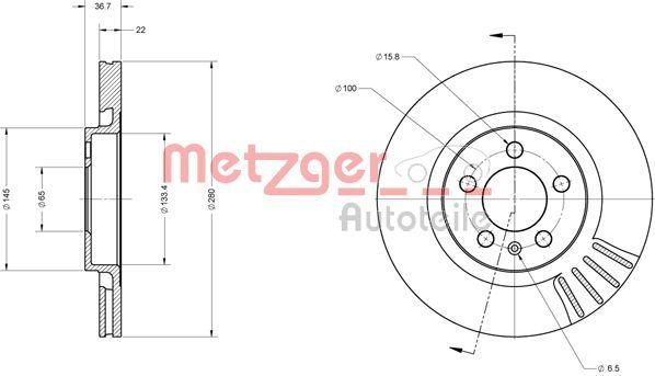 Bremsscheiben 6110068 METZGER 6110068 in Original Qualität