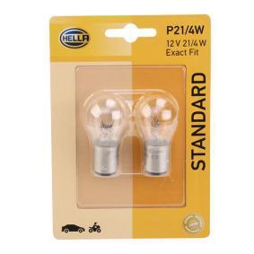 Glühlampe, Brems- / Schlusslicht P21/4W, 12V, BAZ15d, 4W 8GD 004 772-123 VW GOLF, PASSAT, POLO
