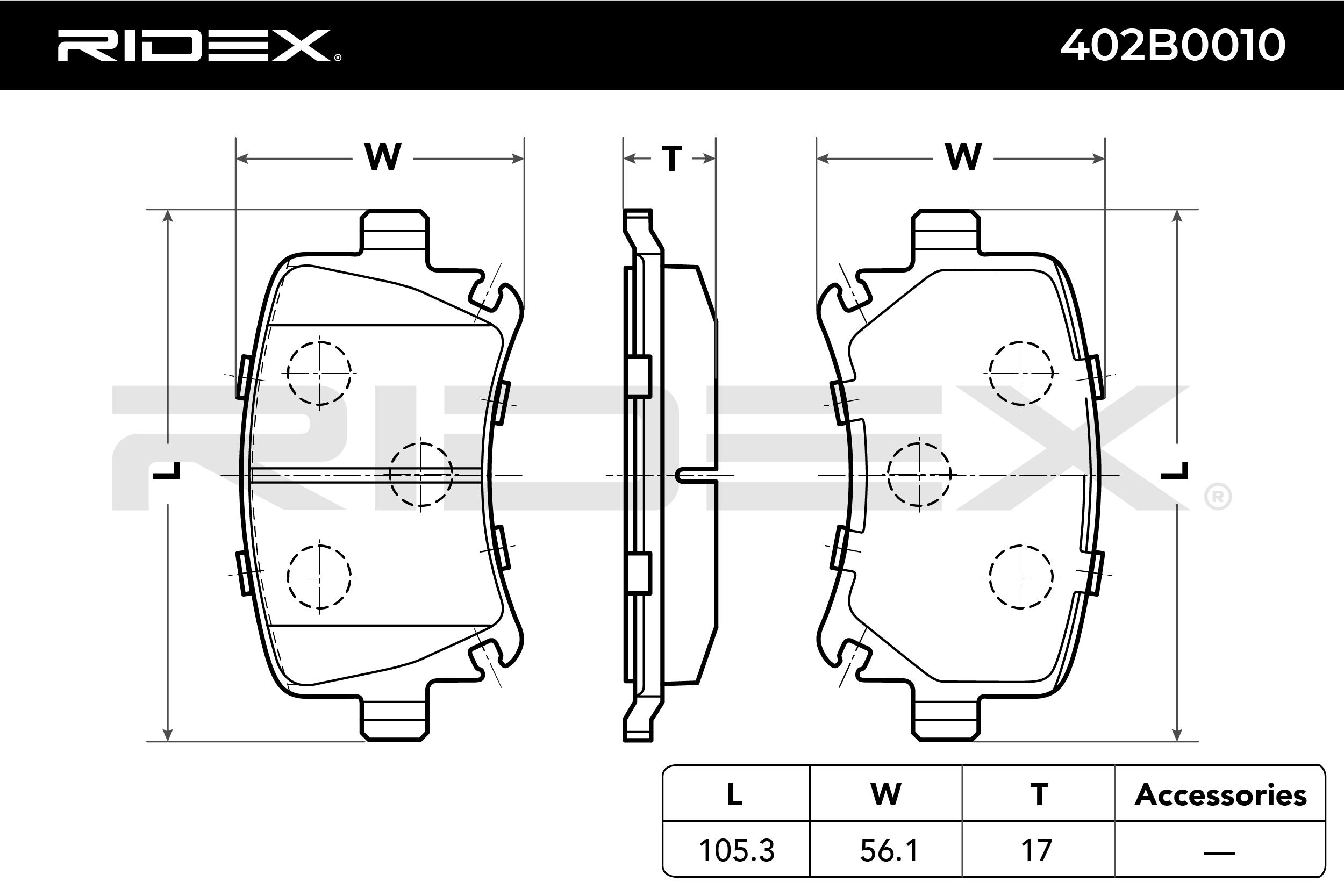 Varenr 402B0010 RIDEX prisene