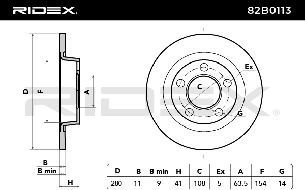 Disc Brakes RIDEX 82B0113 4059191313969