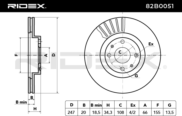 Discos de Freno RIDEX 82B0051 4059191314300