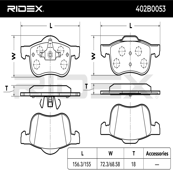 Disk Pads RIDEX 402B0053 4059191316311
