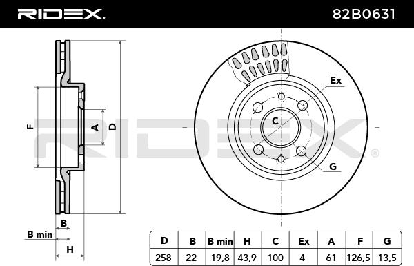 Disc Brakes RIDEX 82B0631 4059191318452
