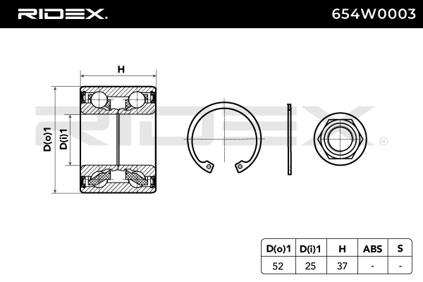 Hub Bearing RIDEX 654W0003 4059191319619