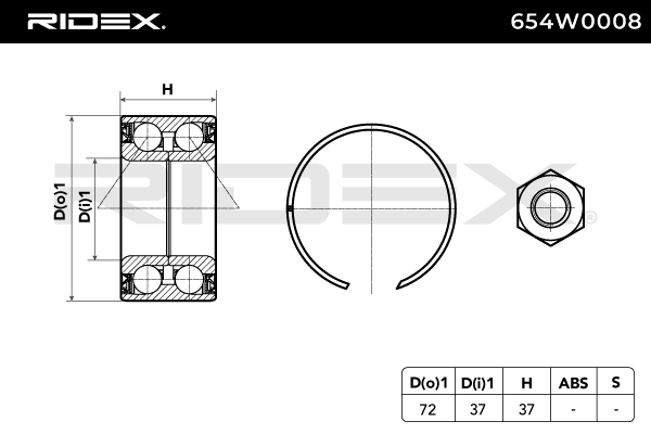 Hub Bearing RIDEX 654W0008 4059191319749