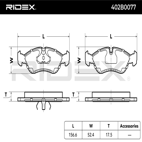 Комплект спирачно феродо, дискови спирачки RIDEX 402B0077 4059191319862