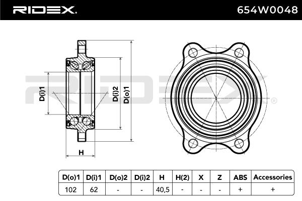 Hub Bearing RIDEX 654W0048 4059191319886