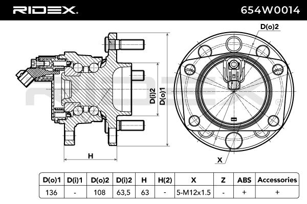 Hub Bearing RIDEX 654W0014 4059191319923