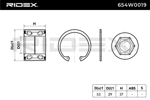 Article № 654W0019 RIDEX prices