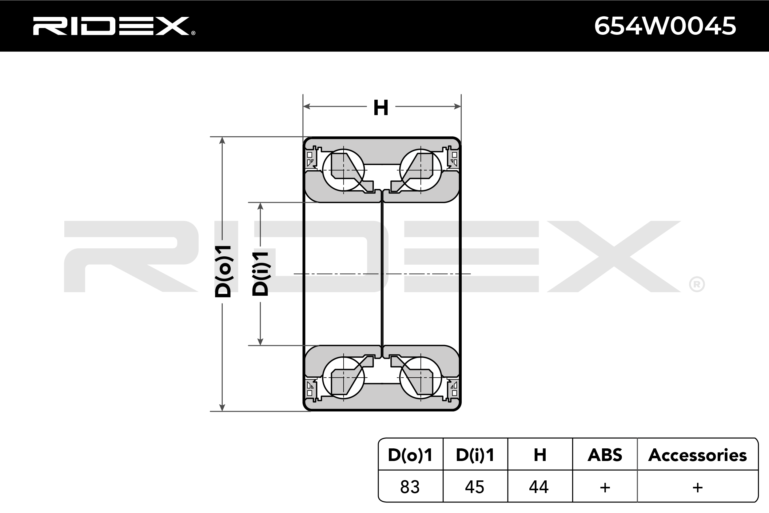 Hub Bearing RIDEX 654W0045 4059191320158