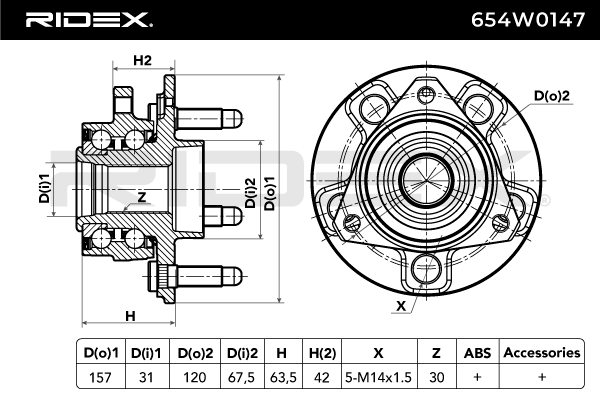 Radlagersatz RIDEX 654W0147 4059191321261
