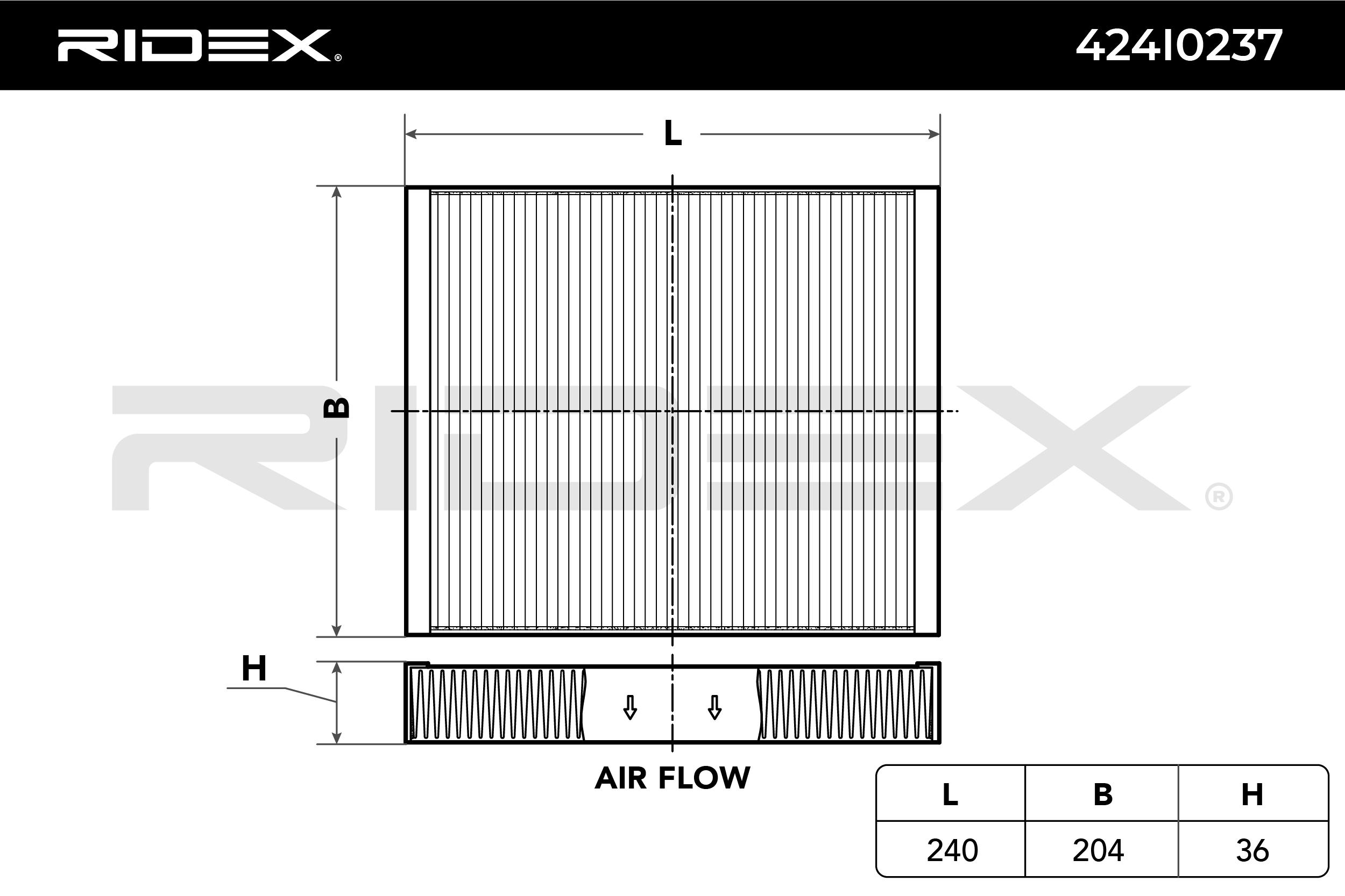 Filtro del habitáculo 424I0237 RIDEX 424I0237 en calidad original