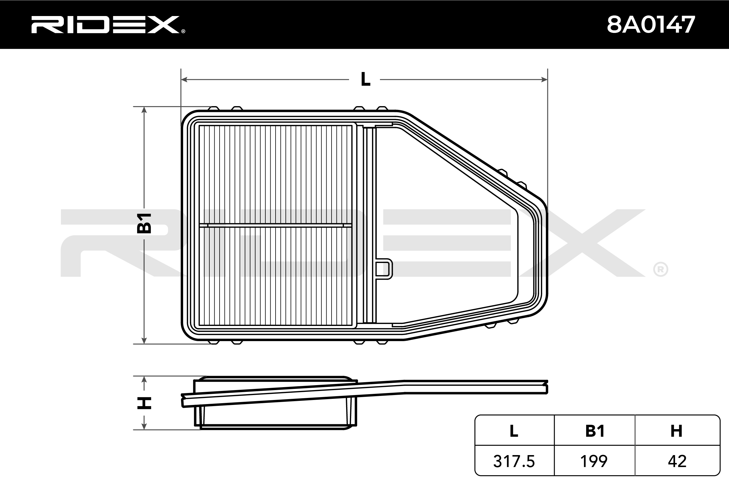 Filtro de aire RIDEX 8A0147 evaluación