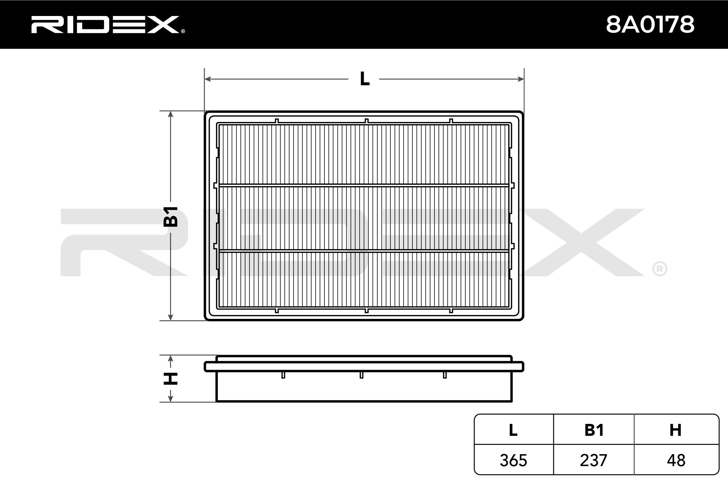 Filtro de aire RIDEX 8A0178 evaluación