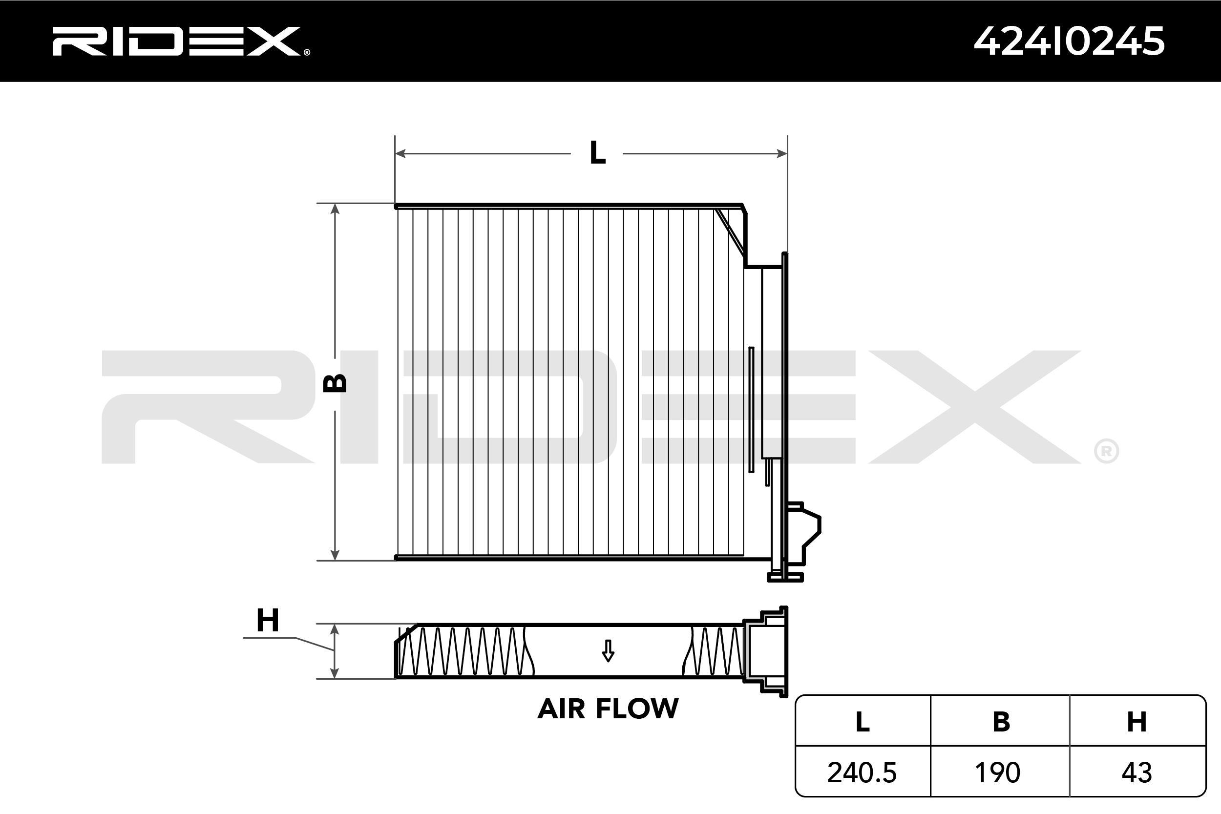 Innenraumfilter 424I0245 RIDEX 424I0245 in Original Qualität