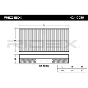 Filter, Innenraumluft Länge: 350mm, Breite: 162mm, Höhe: 30mm mit OEM-Nummer 1062 253