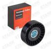 Umlenkrolle und Führungsrolle für VW TRANSPORTER IV Bus (70XB, 70XC, 7DB, 7DW) 2.5 TDI 102 PS ab Baujahr 09.1995 STARK Umlenk-/Führungsrolle, Keilrippenriemen (SKDG-1080006) für
