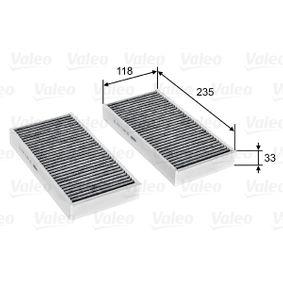 Filter, Innenraumluft Länge: 235mm, Breite: 118mm, Höhe: 33mm mit OEM-Nummer 64116823725