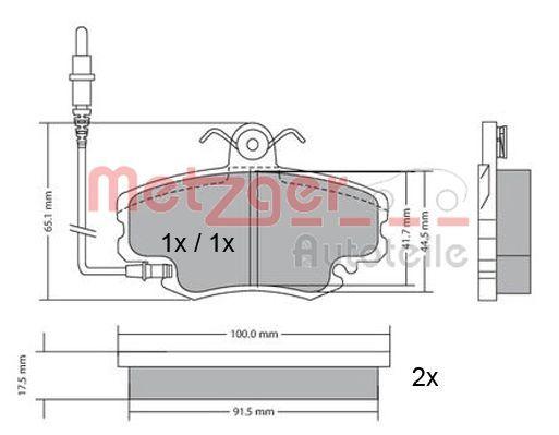Bremsbeläge 1170009 METZGER 21463 in Original Qualität