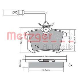 Bremsbelagsatz, Scheibenbremse Breite: 87mm, Höhe: 53mm, Dicke/Stärke: 17mm mit OEM-Nummer 8D0.698.451A