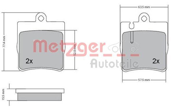 Bremsbeläge 1170064 METZGER 21898 in Original Qualität