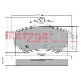 METZGER Bremsbelagsatz, Scheibenbremse 1170066 für AUDI COUPE (89, 8B) 2.3 quattro ab Baujahr 05.1990, 134 PS