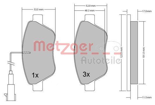 Bremsbeläge 1170102 METZGER 23707 in Original Qualität