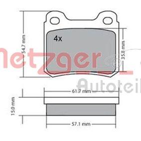 Bremsbelagsatz, Scheibenbremse Breite: 61,3mm, Höhe: 54,3mm, Dicke/Stärke: 15mm mit OEM-Nummer A000 420 9820