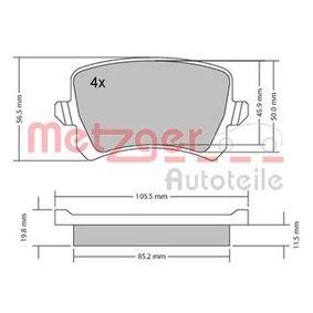 Bremsbelagsatz, Scheibenbremse Breite: 105,5mm, Höhe: 56,4mm, Dicke/Stärke: 16,6mm mit OEM-Nummer 3AA 698 451