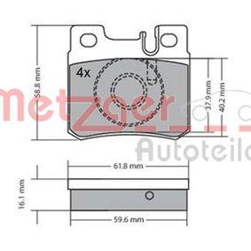 Bremsbelagsatz, Scheibenbremse Breite: 61,5mm, Höhe: 58,3mm, Dicke/Stärke: 15mm mit OEM-Nummer 001420 95 20