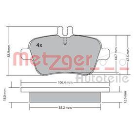 Bremsbelagsatz, Scheibenbremse Breite: 106,6mm, Höhe: 59mm, Dicke/Stärke: 18,4mm mit OEM-Nummer A0074209420