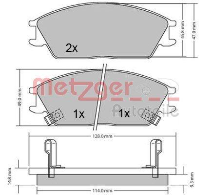 Bremsbeläge 1170224 METZGER 21774 in Original Qualität