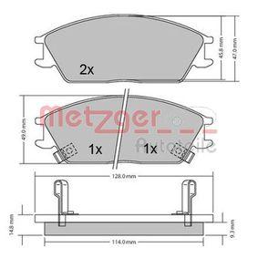 Bremsbelagsatz, Scheibenbremse Breite: 127,4mm, Höhe: 49mm, Dicke/Stärke: 14,7mm mit OEM-Nummer 5820228A00