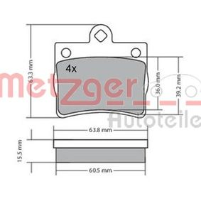 Bremsbelagsatz, Scheibenbremse Breite: 63,5mm, Höhe: 63,2mm, Dicke/Stärke: 15,5mm mit OEM-Nummer A002 420 51 20