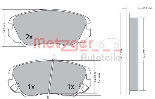 Bremsbeläge 1170291 METZGER 24417 in Original Qualität