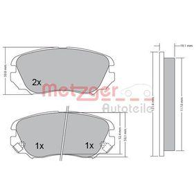 Bremsbelagsatz, Scheibenbremse Höhe: 59,5mm, Dicke/Stärke 2: 19,5mm, Dicke/Stärke: 19mm mit OEM-Nummer 1605624