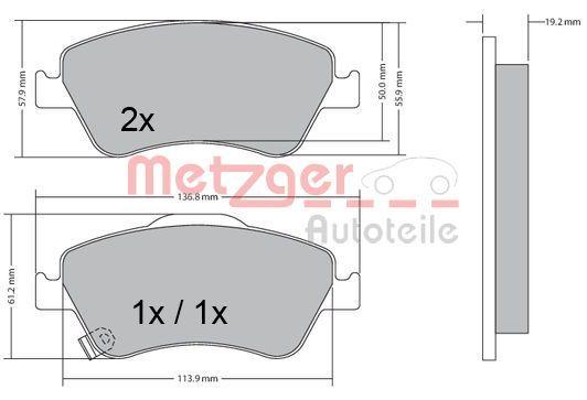Bremsbeläge 1170299 METZGER 24591 in Original Qualität