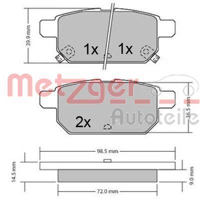 Bremsbeläge 1170360 METZGER 25260 in Original Qualität