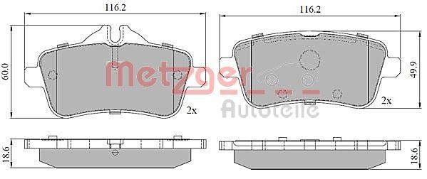 METZGER  1170786 Bremsbelagsatz, Scheibenbremse Höhe: 59,8mm, Dicke/Stärke: 18,5mm