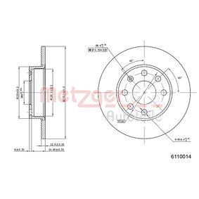METZGER Спирачни дискове предна ос, плътен, Кръстообразен срез, с покритие, с комплект предпазни винтове