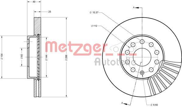 Bremsscheiben 6110021 METZGER 6110021 in Original Qualität