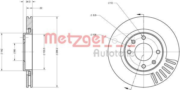 Bremsscheiben 6110023 METZGER 6110023 in Original Qualität